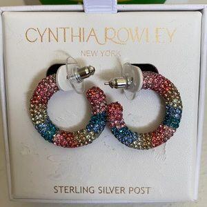 Cynthia Rowley Multi Color Crystal Hoop Earings